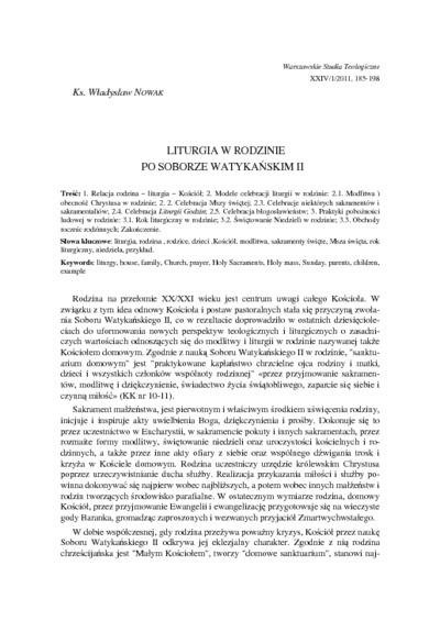 Liturgia w rodzinie po Soborze Watykańskim II