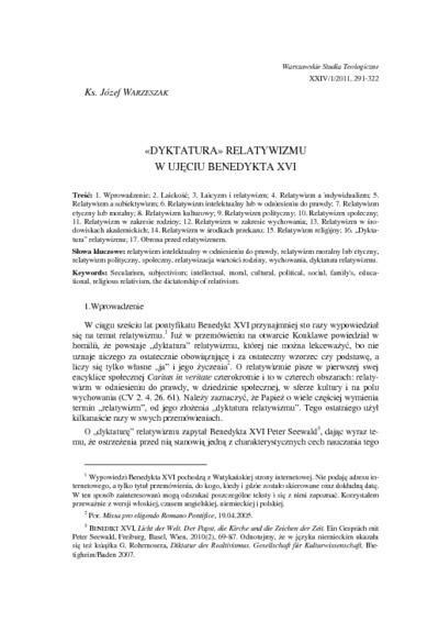 «Dyktatura» relatywizmu w ujęciu Benedykta XVI