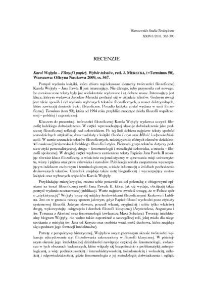Recenzje (Warszawskie Studia Teologiczne. T. 24/1)
