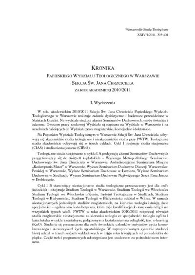 Kronika Papieskiego Wydziału Teologicznego w Warszawie Sekcja Św. Jana Chrzciciela za rok akademicki 2010/2011