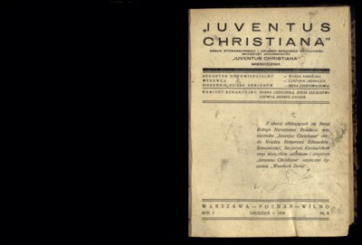 Iuventus Christiana : organ Stowarzyszenia Młodzieży Akademickiej Iuventus Christiana. R. 5 (1933), nr 9