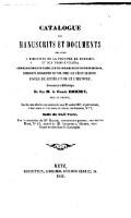 Catalogue des manuscrits et documents relatifs a l histoire de la province  de Lorraine et d66e8debc626