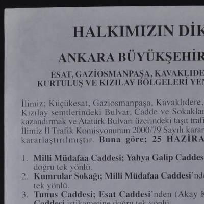 Ankara merkez ilçelerinin yeni trafik düzenlemesi planı