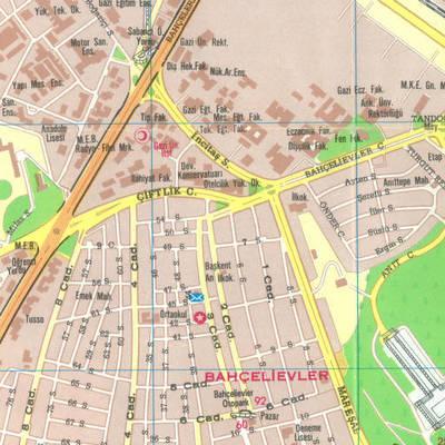 Ankara'nın turistik yerlerini gösteren plan