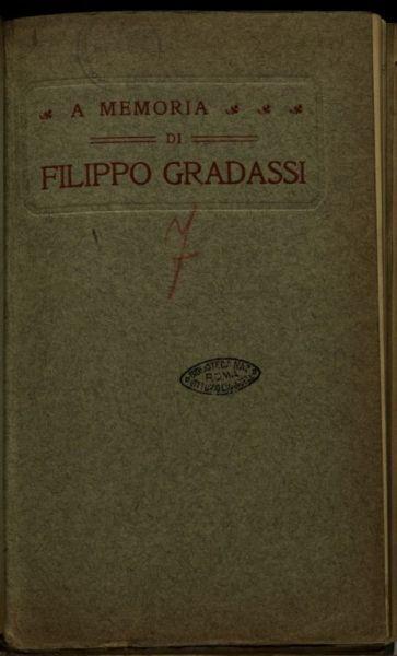 A memoria del sottotenente Filippo Gradassi