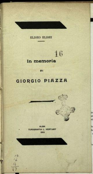 In memoria di Giorgio Piazza  / Eliseo Elisei