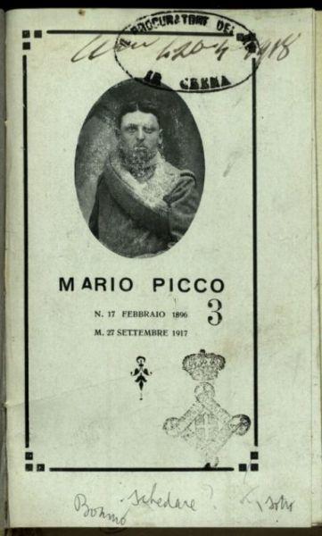 Mario Picco  : n. 17 febbraio 1896 - m. 27 settembre 1917  / [Luigi Bonino]
