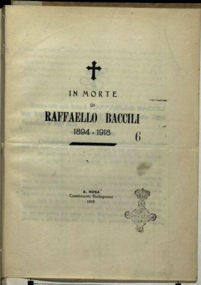 In morte di Raffaello Baccili  : 1894-1918