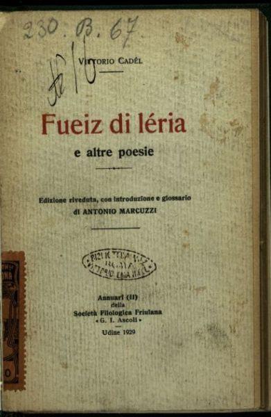Fueiz di leria e altre poesie  / Vittorio Cadel