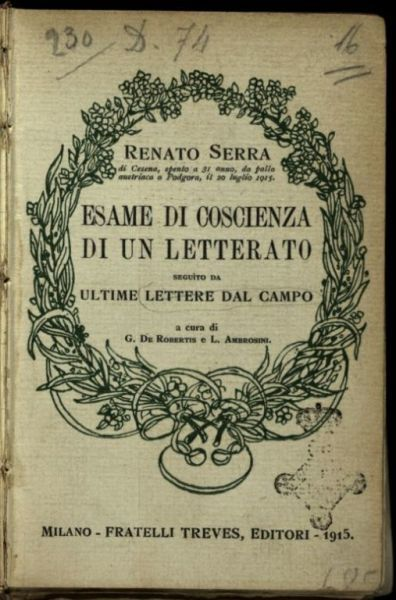 Esame di coscienza di un letterato  ; seguito da, Ultime lettere dal campo  / Renato Serra  ; a cura di G. De Robertis e L. Ambrosini