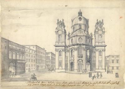 [Prospekt von Liebfrauenkirche in Salzburg] / J.[Johann] B.[Bernard] F.[Fischer] v.[von] E.[Erlach].