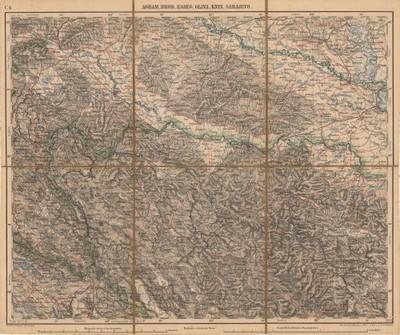 Agram, Brod, Esseg, Glina, Knin, Sarajevo / Schrift und Gerippe v. K. Lorenz ; Terrainschraffirung v. F. Erben und E. Cronenberg.