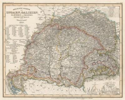 Neueste Karte von Ungarn, Galizien, Slavonien und Croatien, Siebenbürgen und dem Militairgrenzland / [Joseph] Meyer.