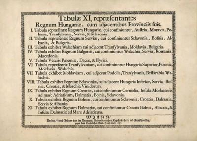 [Tabulae XI. repraesentantes Regnum Hungariae : cum adjacentibus Provinciis suis / durch Johann van der Bruggen].