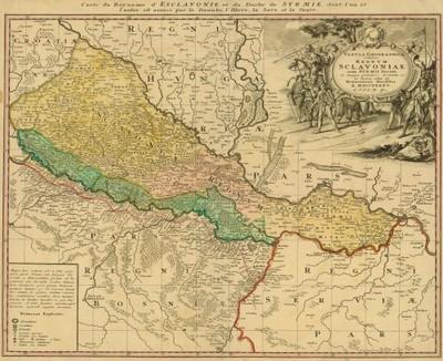 Tabula geographica exhibens regnum Sclavoniae : cum Syrmii ducatu / ex mappa grandiori desumta et in lucem edita ab Homannianis heredibus.