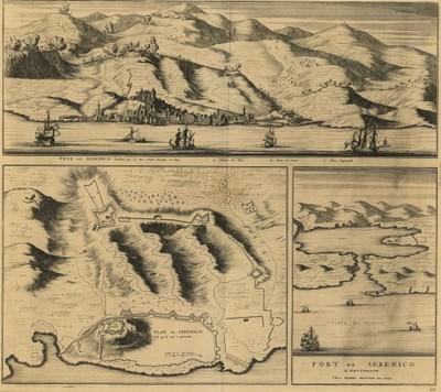 Veue de Sebenico pendent que les Turc l'avoit Assiége en 1645. Plan de Sebenico. Port de Sebenico / [Joan Blaeu] ; chez Pierre Mortier.