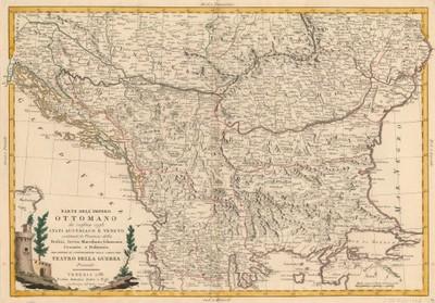 Parte dell'Impero Ottomano che confina con gli Stati Austriaco e Veneto : contenente le provincie della Bosnia, Servia, Macedonia, Schiavonia, Croazia e Dalmazia per servire di continuazione alla carta del Teatro della guerra presente.
