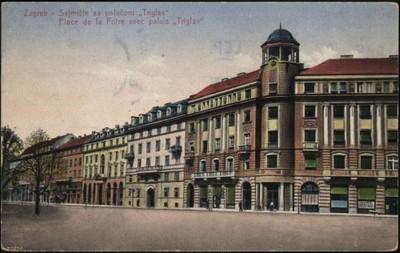 Zagreb : Sajmište sa palačom Triglav = Place de la Foire avec palais Triglav.