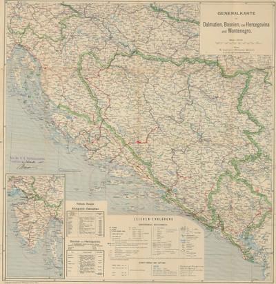 Generalkarte von Dalmatien, Bosnien, der Hercegovina und Montenegro.