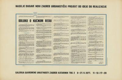 Naselje Dugave Novi Zagreb urbanistički projekt od ideje do realizacije : Galerija suvremene umjetnosti Zagreb, 8-27.11.1977. / design: B.[Boris] Bućan.