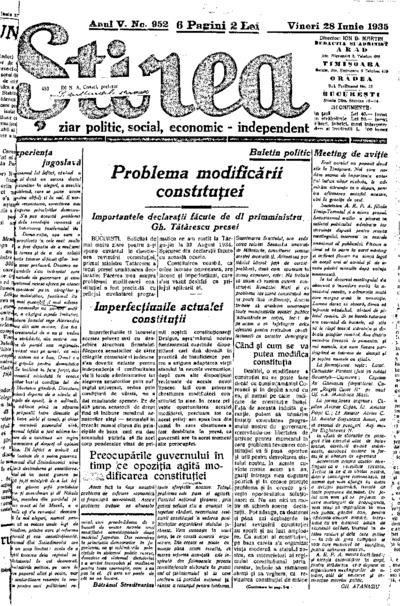 Știrea, Anul V, Nr. 952