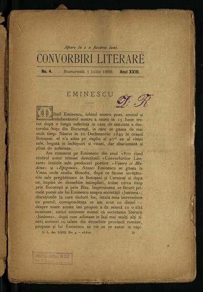 Convorbiri literare. 1889, An 23, nr. 4 (iulie)
