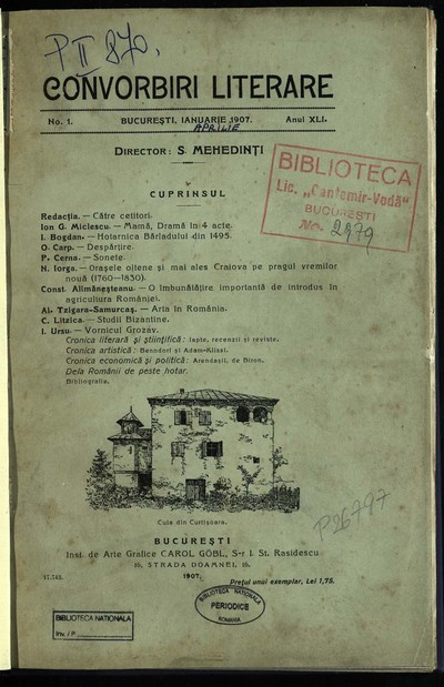 Convorbiri literare. 1907, An 41, nr. 1 - 12