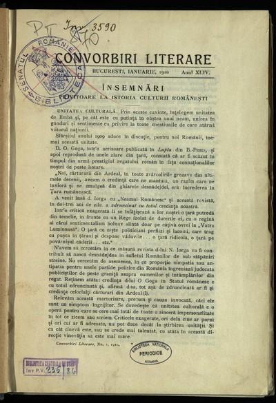 Convorbiri literare. 1910, An 44, nr. 1, 2; nr. 1-10/ vol. II