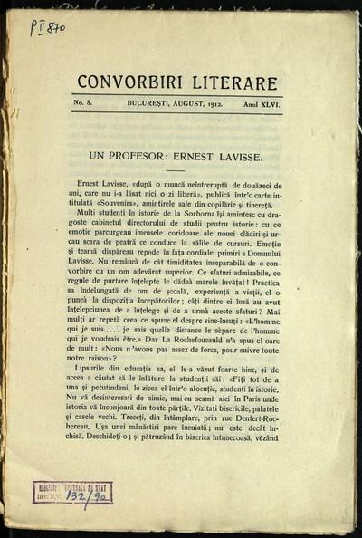 Convorbiri literare. 1912, An 46, nr. 8