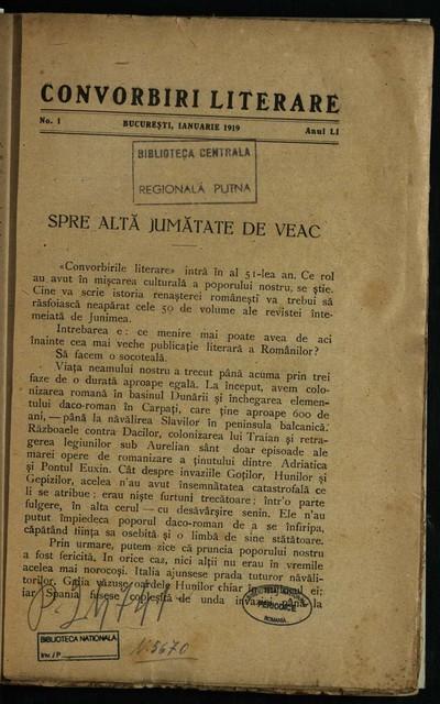 Convorbiri literare. 1919, An 51, nr. 1-12