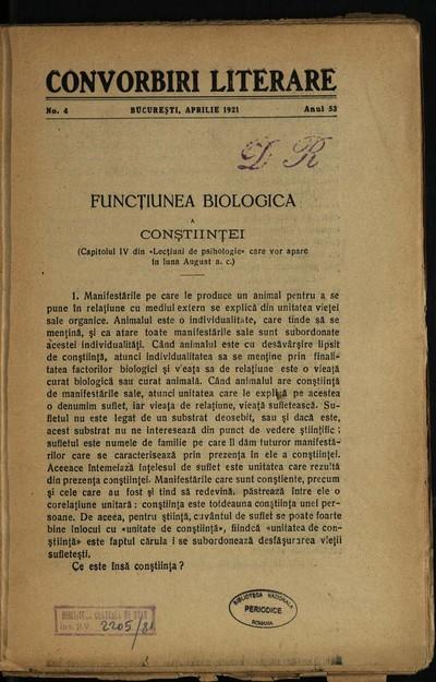 Convorbiri literare. 1921, An 53, nr. 4