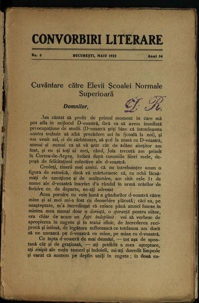 Convorbiri literare. 1922, An 54, nr. 5, 6-7, 10 - 12