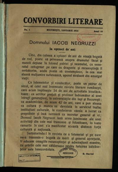 Convorbiri literare. 1923, An 55, nr. 1-12