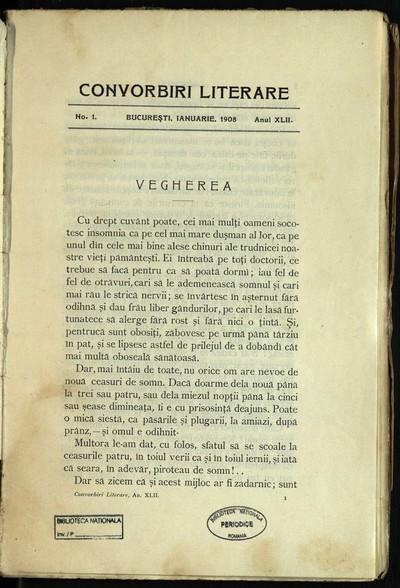 Convorbiri literare. 1908, An 42, nr. 1, 2, 5, 8- 12