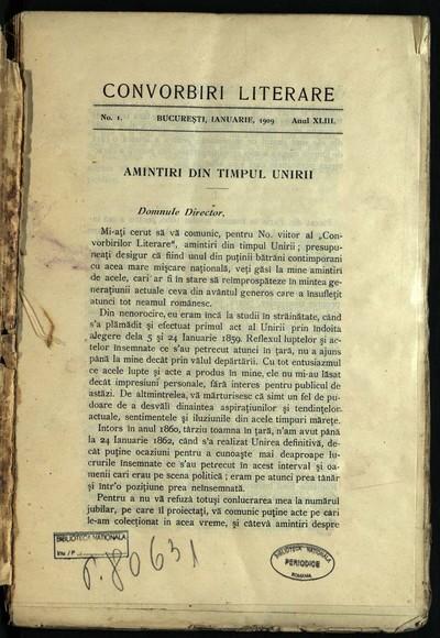Convorbiri literare. 1909, An 43, nr. 1- 4, 6- 10, 12