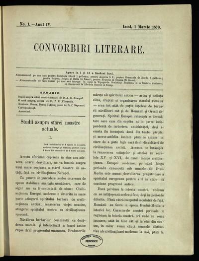 Convorbiri literare. 1870, An 4, nr. 1- 24