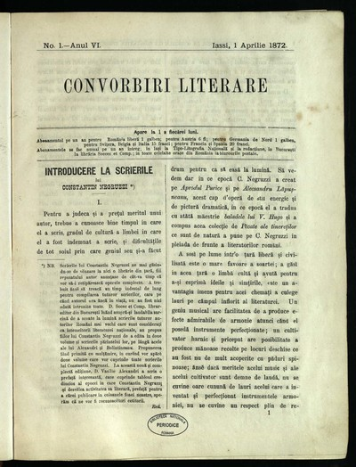 Convorbiri literare. 1872, An 6, nr. 1- 12