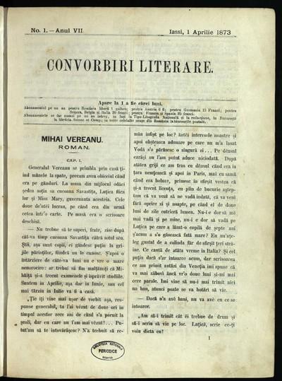 Convorbiri literare. 1873, An 7, nr. 1- 12