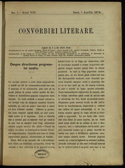 Convorbiri literare. 1874, An 8, nr. 1- 12