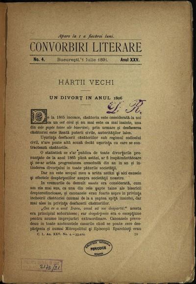 Convorbiri literare.1891, An 25, nr. 4, 6