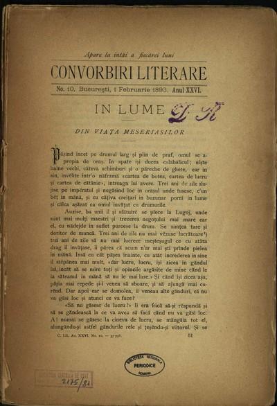 Convorbiri literare. 1893, An 26, nr. 10, 12