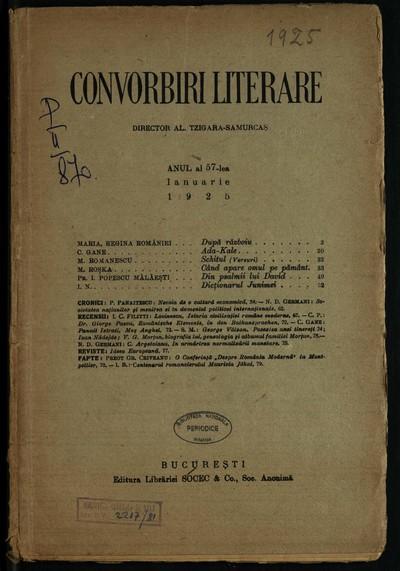Convorbiri literare.1925, An 57, nr. 1