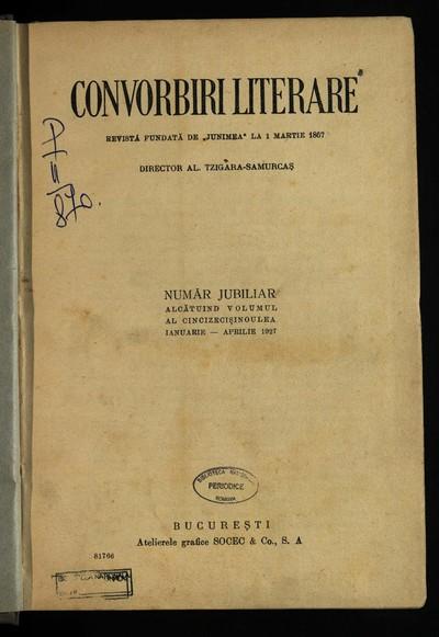 Convorbiri literare. 1927, An 59, nr. 1-11