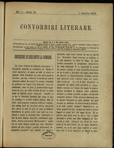 Convorbiri literare. 1875, An 9, nr. 1- 12