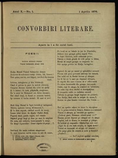 Convorbiri literare. 1876, An 10, nr. 1- 12