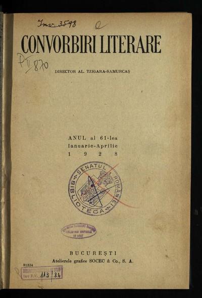 Convorbiri literare.1928, An 61, nr. 1-12