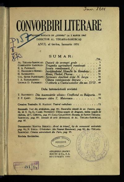 Convorbiri literare. 1931, An 64, nr. 1-6