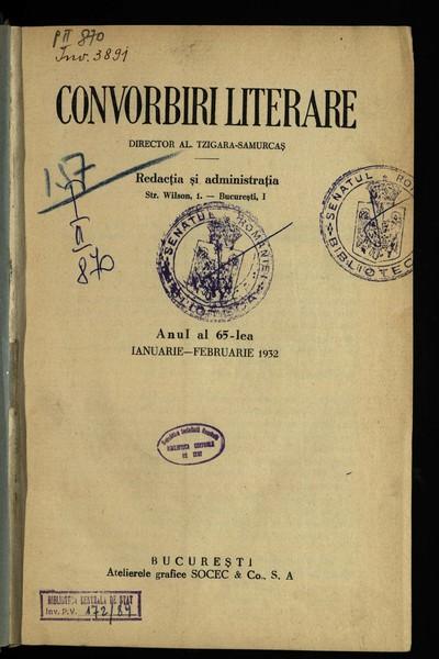 Convorbiri literare. 1932, An 65, nr. 1-12
