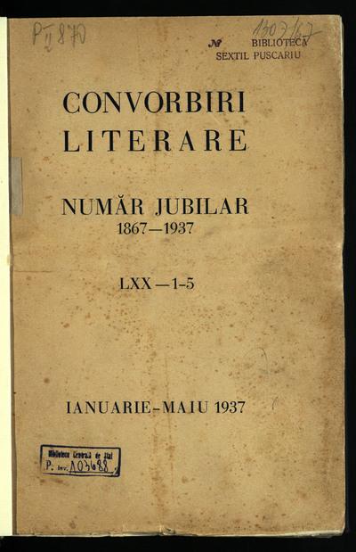 Convorbiri literare. 1937, An 70, nr. 1-12