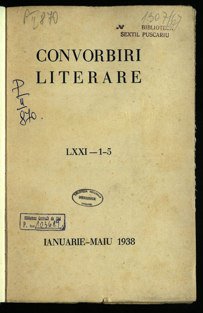 Convorbiri literare. 1938, An 71, nr. 1-12